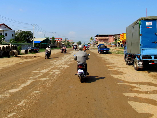 Looks can be deceiving: Cambodian roads often appear little trafficked