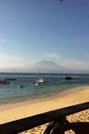 Mushroom Beach with Gunung Agung on Bali in the background