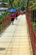 Crossing the bridge at Muang Khua